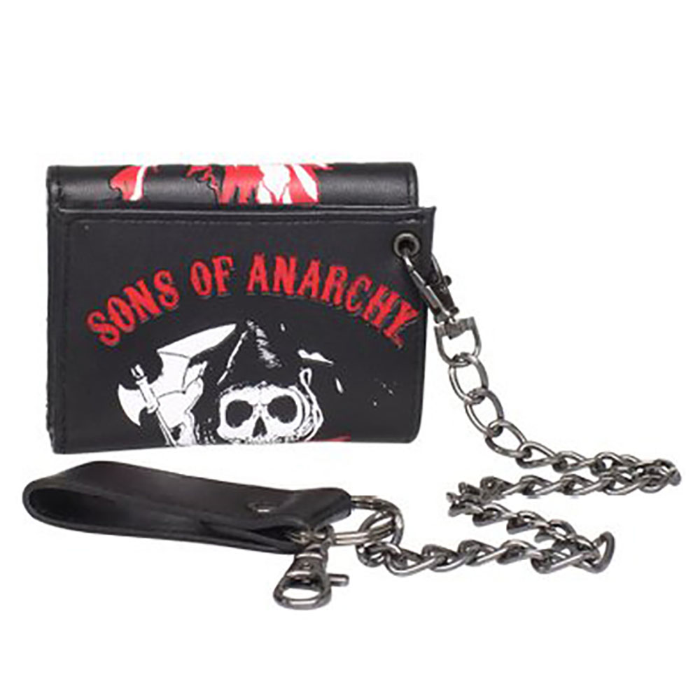 Sons of Anarchy Men's Trifold Flag Reaper Wallet with Chain