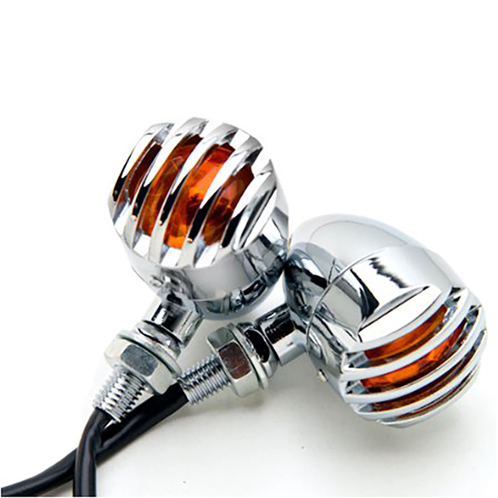 Chrome Heavy Duty Motorcycle Turn Signals Lights