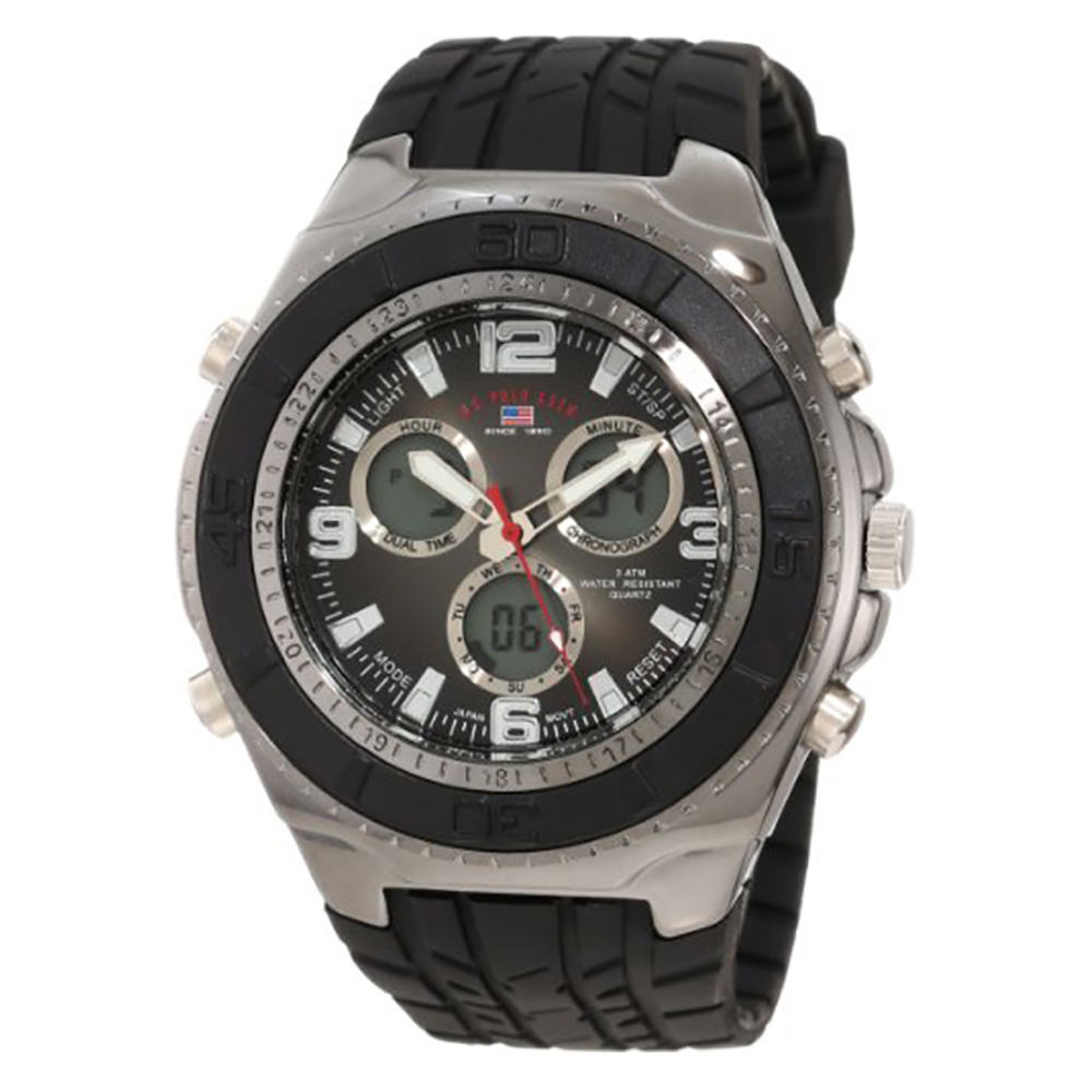 U.S. Polo Assn. Sport Men's Black Textured Strap Analog Digital Watch