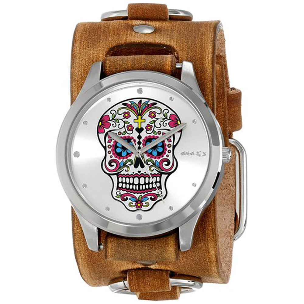 Nemesis Women's Silver Sugar Skull Leather Cuff Band Watch