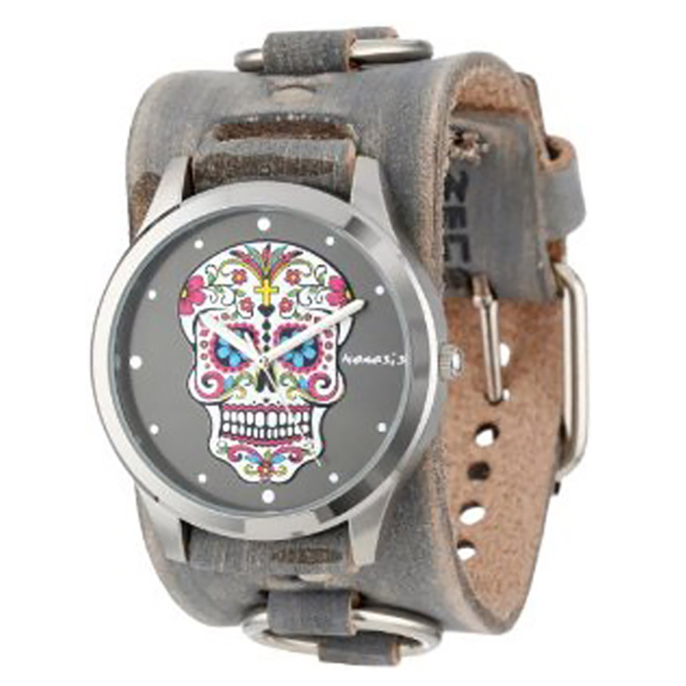 Nemesis Women's Black Sugar Skull Leather Cuff Band Watch