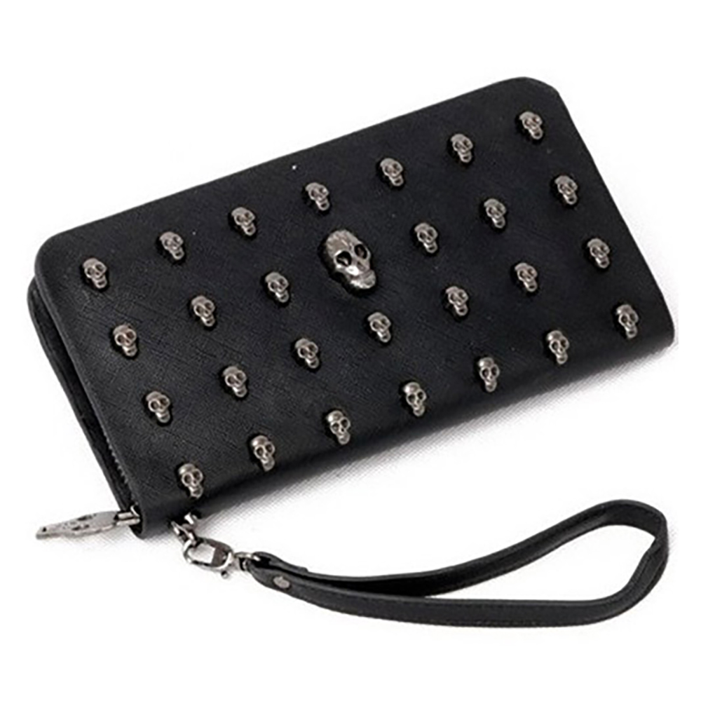 Ziyan Women Skull Wallet Clutch Bag Wristlet Handbag Case