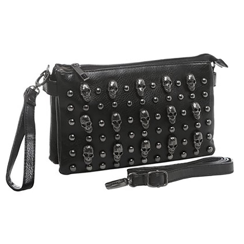 MG Collection QUINA Black Gunmetal Skulls Studded Shoulder / Crossbody Mini Bag