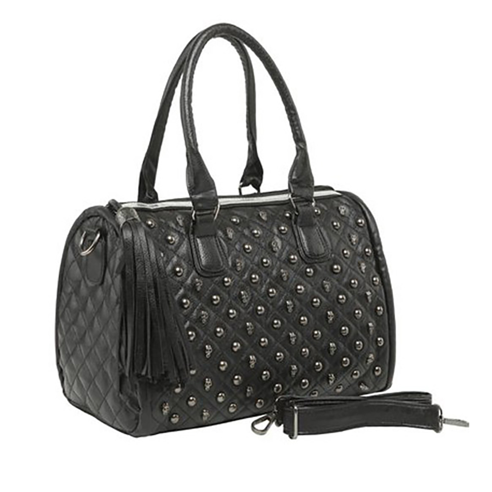 MG Collection MADRA Gothic Skull Studded Quilted Bowling Style Satchel Handbag