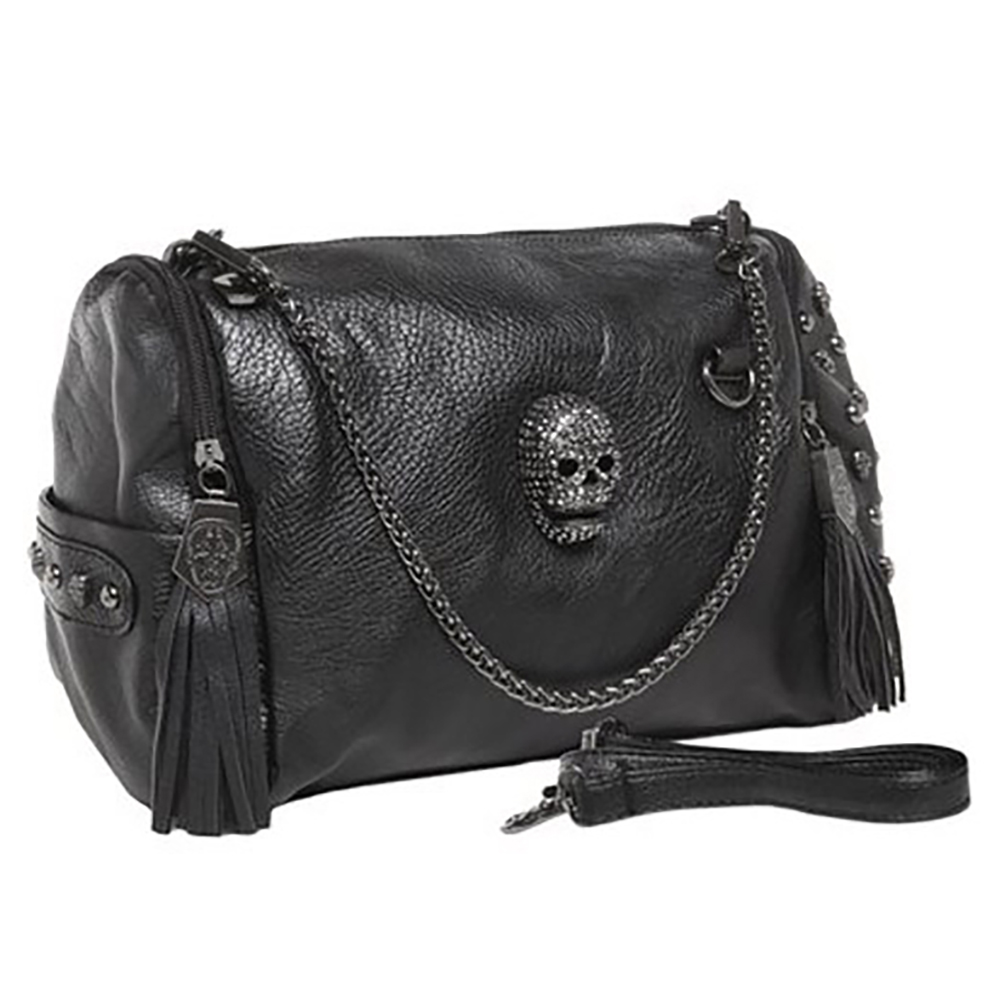 MG Collection ZAILA Rhinestone Gothic Skull Studded Chain Bowling Shoulder Bag