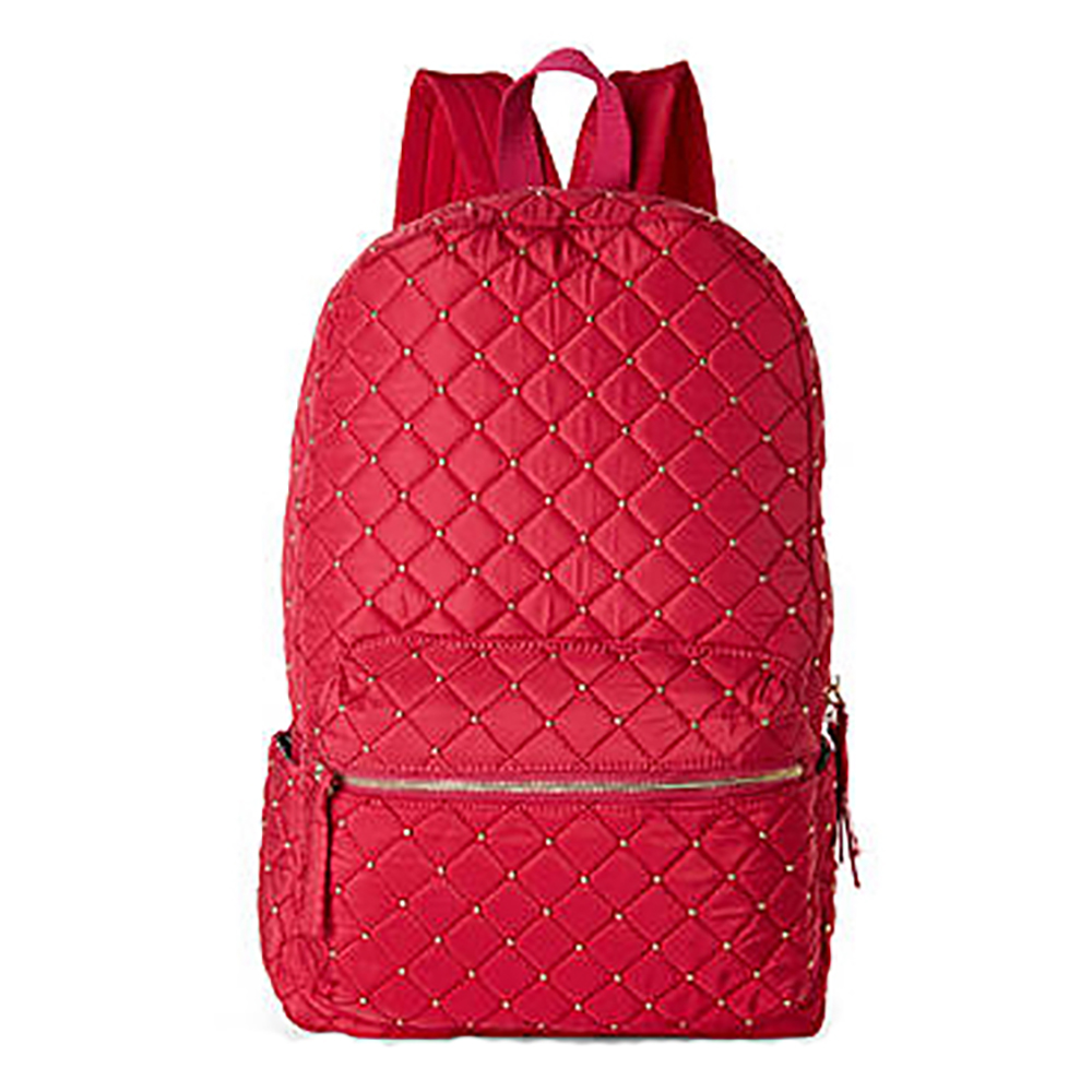 NILA ANTHONY Red Studded Casual Backpack