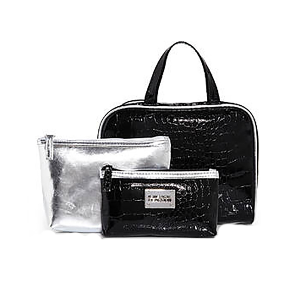 KENNETH COLE REACTION Black & Silver 3-Piece Faux Croc Overnight Set