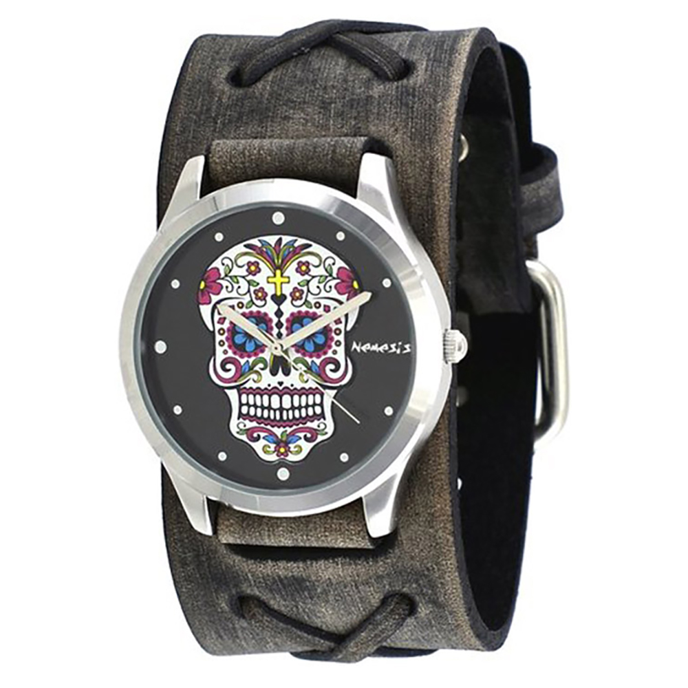 Nemesis Women's Sugar Skull Grey Wide Leather Band Watch
