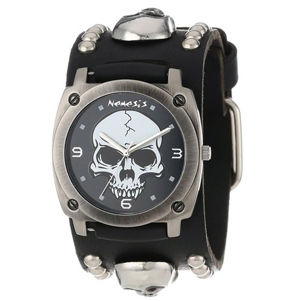 Nemesis Men's Black Heavy Duty Skull Leather Band Watch