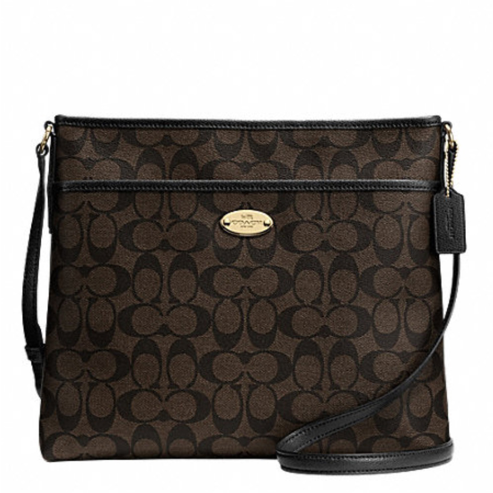 Coach Signature File Bag – Brown Black