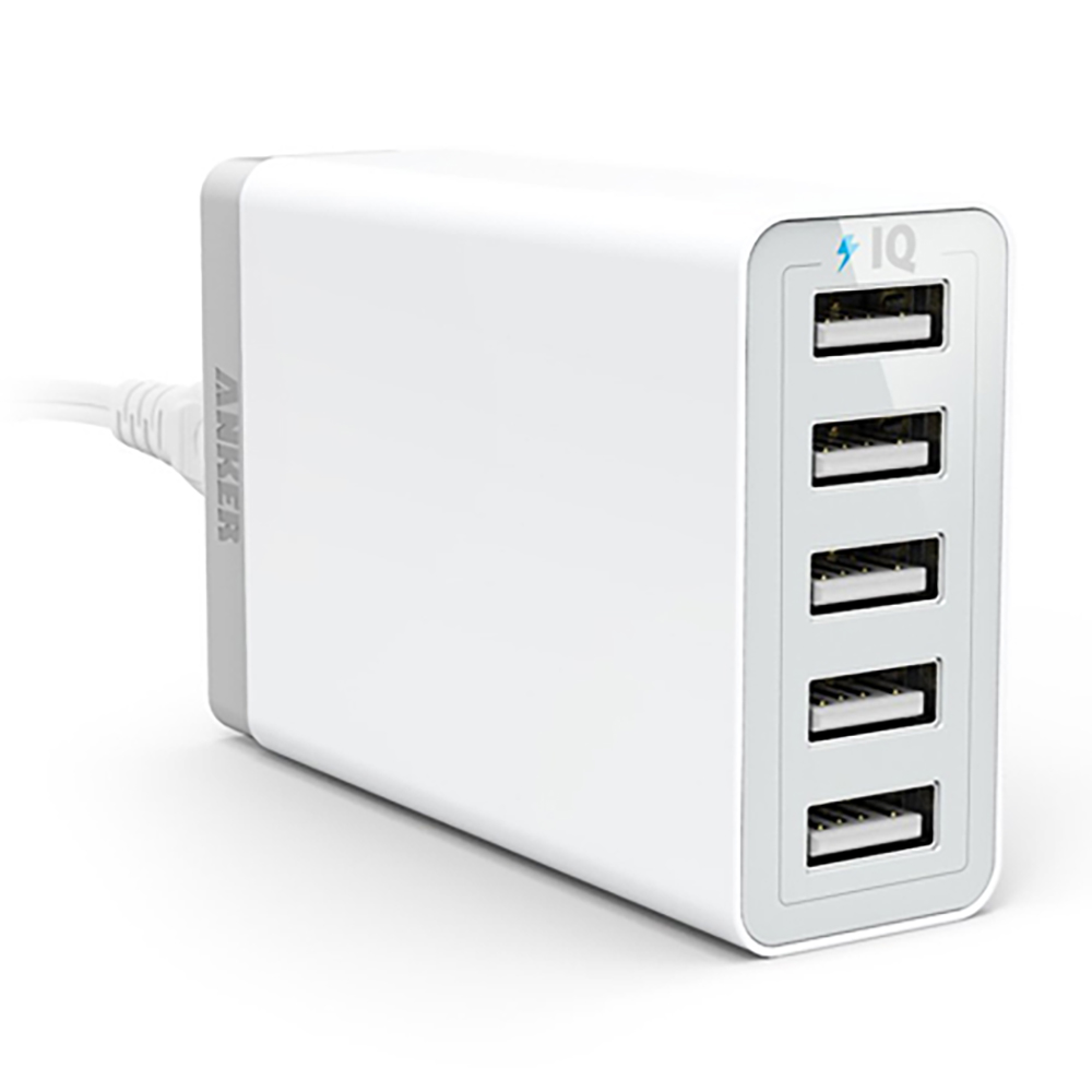 Anker® 40W 5-Port Family-Sized Desktop USB Charger with PowerIQ™ Technology