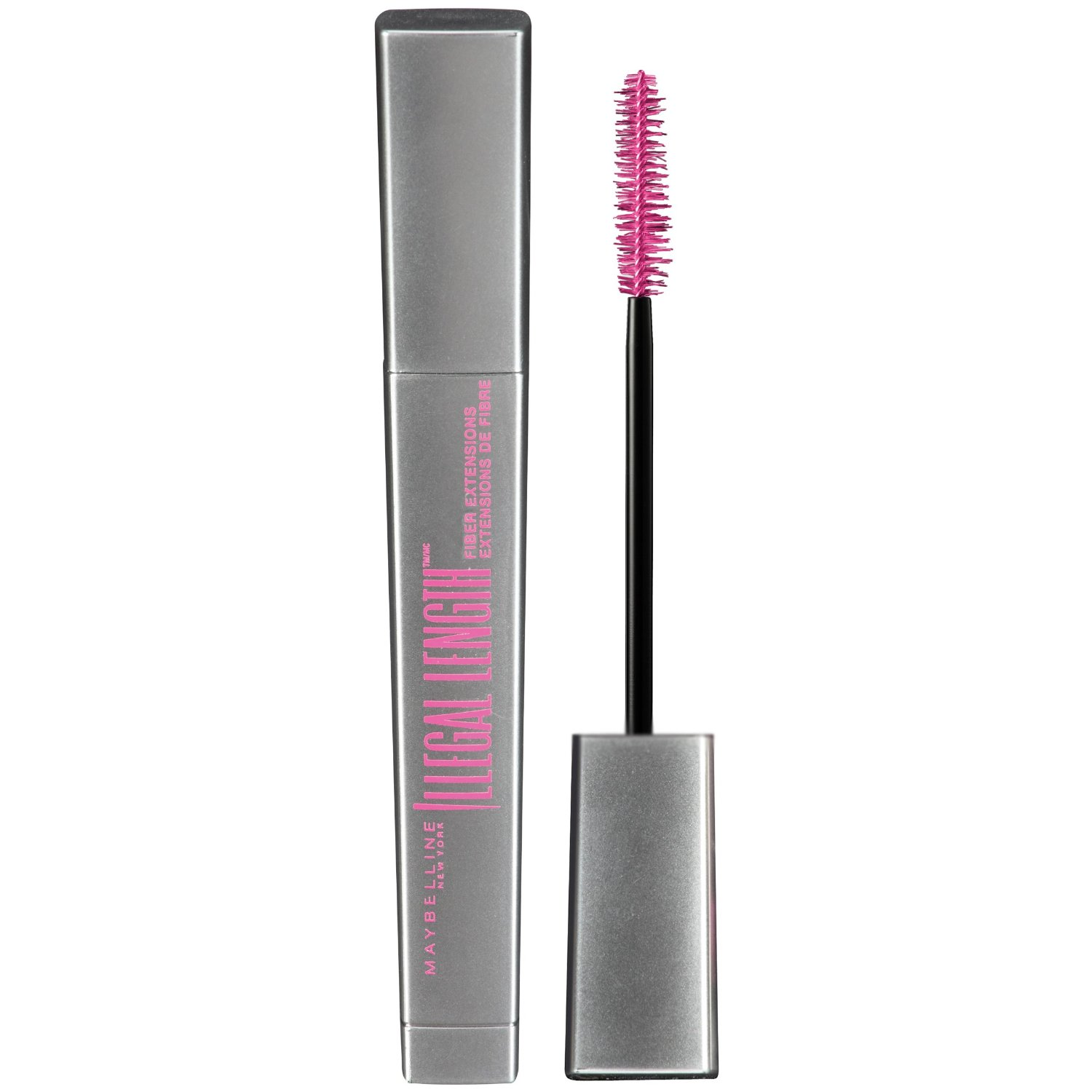 MAYBELLINE New York Illegal Length Fiber Extensions Washable Mascara, Blackest Black, 0.22 Ounce